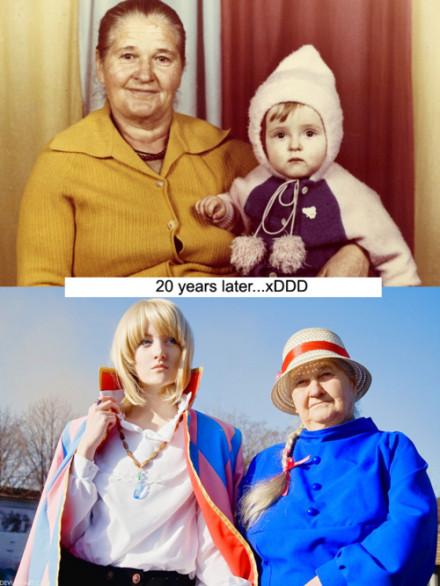 0年后带着奶奶COS哈尔的移动城堡,好有爱